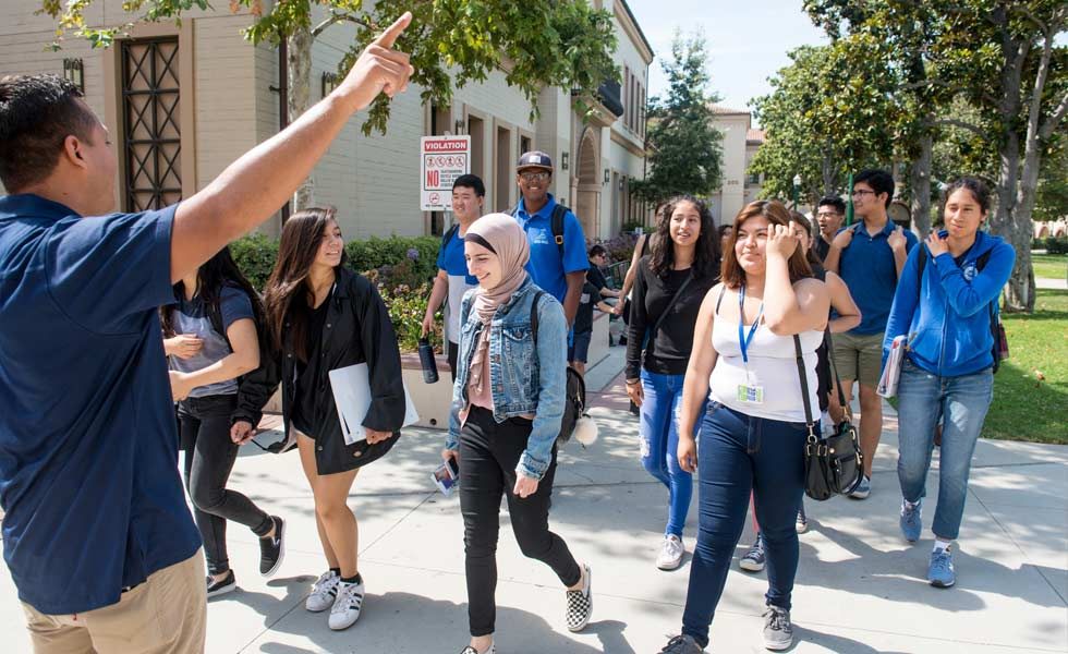 group of students tour campus