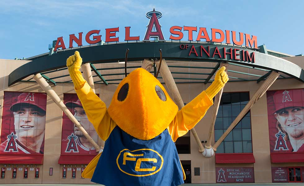 Buzzy mascot in front of Angel Stadium