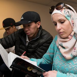 Fullerton College students are engrossed in reading.