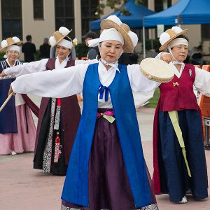 East Asian dancers perform at Fullerton College's WordFest.